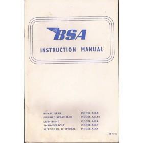 BSA Royal Star/Firebirg Scrambler/Lightning/Thunderbolt/Spitfire Instructieboekje  Model A50R/A65FS/A65L/A65T/A65S Benzine  69 met gebruikssporen   Engels