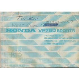 Honda VF750 Sports Instructieboekje   Benzine  82 met gebruikssporen   Engels