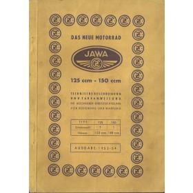Jawa 125/150 Instructieboekje   Benzine  53-54 met gebruikssporen   Duits