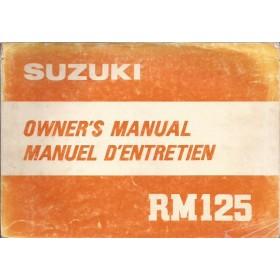 Suzuki RM 125 Instructieboekje   Benzine  80 met gebruikssporen 1 losse pagina  Engels/Frans
