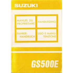 Suzuki GS 500E Instructieboekje   Benzine  92 ongebruikt   Nederlands/Frans/Duits/Italiaans