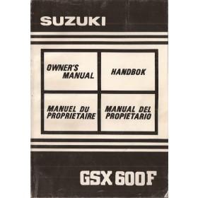 Suzuki GSX 600F Instructieboekje   Benzine  91 met gebruikssporen   Nederlands/Frans/Duits/Italiaans