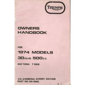 Triumph Daytona/500CC Instructieboekje  Model T100R Benzine  74 met gebruikssporen   Engels