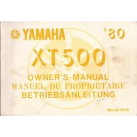 Yamaha XT500 Instructieboekje   Benzine  80 met gebruikssporen   Frans/Engels/Duits