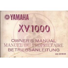 Yamaha XV1000 Instructieboekje   Benzine  86 met gebruikssporen   Frans/Engels/Duits