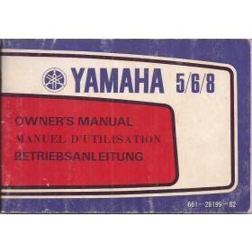 Yamaha 5/6/8 Instructieboekje   Benzine  82 met gebruikssporen buitenboordmotor  Frans/Engels/Duits