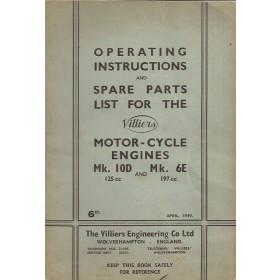 Villiers 125cc/197cc Onderdelengids   Benzine Fabrikant 49 met gebruikssporen   Engels