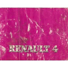 Renault 4 Instructieboekje   Benzine Fabrikant 82 met gebruikssporen lichte vochtschade vouwen  Nederlands
