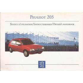 Peugeot 205 Instructieboekje Benzine-Diesel Fabrikant 98 ongebruikt   Nederlands/Frans/Engels