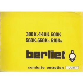 Berliet 380K/440K/500K/560K/610K Instructieboekje Diesel Fabrikant 76 ongebruikt Frans