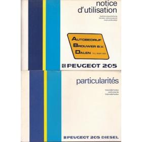 Peugeot 205 Instructieboekje Benzine met dieselbijlage Fabrikant 86 met gebruikssporen Nederlands/Duits/Frans/Italiaans