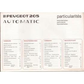 Peugeot 205 Automatic Bijlage bij instructieboekje Fabrikant 86 ongebruikt Nederlands/Frans/Duits/Italiaans