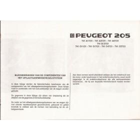 Peugeot 205 1.1 (XY7) 1.4 (XY8) Bijlage bij instructieboekje Fabrikant 86 ongebruikt Nederlands