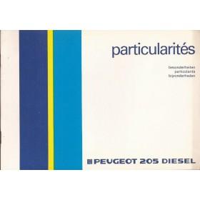 Peugeot 205 Diesel Bijlage bij instructieboekje Fabrikant 87 ongebruikt Nederlands/Frans/Duits/Italiaans
