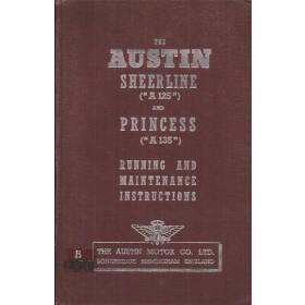 Austin A125 Sheerline A135 Princess Instructieboekje Benzine Fabrikant 1951 met gebruikssporen ex-bibliotheek Engels