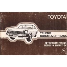 Toyota Trueno Toyota Corolla Instructieboekje model TE47/KE50/TE51 Benzine Fabrikant 1977 met gebruikssporen Frans/Duits