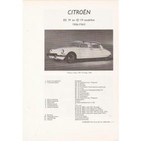 Citroen ID19/DS19 Vraagbaak losbladig P. Olyslager  Benzine Kluwer 56-63 ongebruikt Nederlands