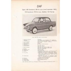 DAF 600 Vraagbaak losbladig P. Olyslager  Benzine Kluwer 1959-1962 ongebruikt   Nederlands