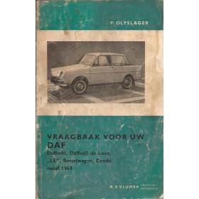 DAF Daffodil Vraagbaak P. Olyslager  Benzine Kluwer 63-65 met gebruikssporen waterschade, vouwen, vette vingers  Nederlands