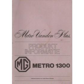 MG/VandenPlas Metro Introductieboek  1300 Benzine Fabrikant 86-86 ongebruikt   Nederlands