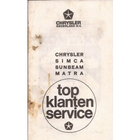 Chrysler Simca Sunbeam Matra Dealerlijst Nederland  Fabrikant 1977 met gebruikssporen Nederlands