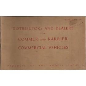 Commer Karrier Rootes Dealerlijst UK Fabrikant 51 met gebruikssporen  Engels