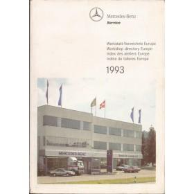 Mercedes-Benz Dealerlijst  Europa  Fabrikant 93 met gebruikssporen Engels Spaans Frans Duits