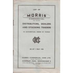 Morris Dealerlijst UK Fabrikant 58 met gebruikssporen  Engels