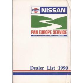 Nissan Dealerlijst  Europa  Fabrikant 90 met gebruikssporen Engels Spaans Frans Duits