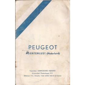 Peugeot Dealerlijst Nederland Fabrikant ca 70 met gebruikssporen Nederlands