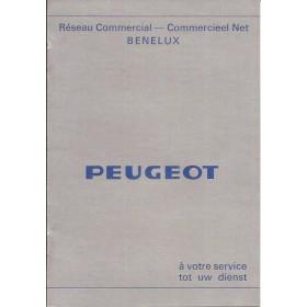Peugeot Dealerlijst BeNeLux Fabrikant ca 71 met gebruikssporen Nederlands Frans