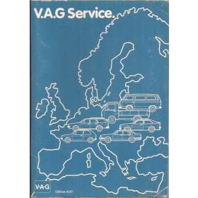 Volkswagen Audi Dealerlijst  Europa  Fabrikant 1983 met gebruikssporen Engels Frans Duits