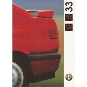 Alfa Romeo 33 Imola brochure 4 pagina's 1992 met gebruikssporen Nederlands
