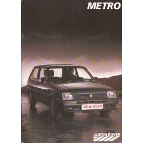 Austin Metro MG Metro brochure 16 pagina's 1984 met gebruikssporen Nederlands