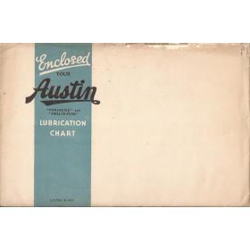 Austin Twelve lubrication chart smeerkaart Benzine Fabrikant 1935 met gebruikssporen Engels