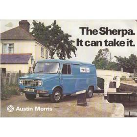 Austin Morris Sherpa brochure 16 pagina's Benzine Fabrikant 1975 met gebruikssporen Engels