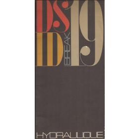 Citroen DS 19 ID 19 Break brochure uitleg Hydrolique 32 pagina's ca 1960 met gebruikssporen Nederlands