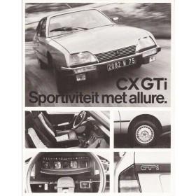 Citroen CX GTi brochure 2 pagina's 1978 met gebruikssporen Nederlands