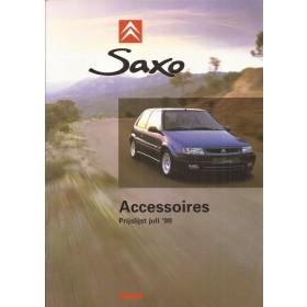 Citroen Saxo accessoires brochure 6 pagina's 1998 met gebruikssporen Nederlands