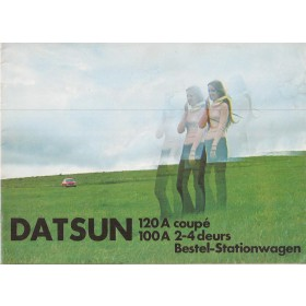 Datsun 120A Datun 100A brochure 16 pagina's ca 1972 met gebruikssporen Nederlands