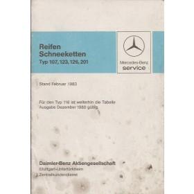 Mercedes W107, W123, W126, W201 banden- en sneeuwkettingenoverzicht 6 pagina's 83 met gebruikssporen Duits