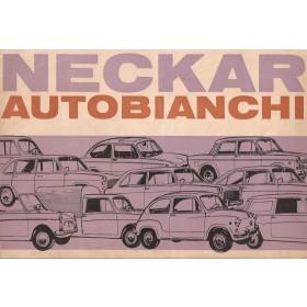 Neckar Autobianchi alle modellen brochure 4 pagina's benzine Fabrikant 1967 met gebruikssporen Nederlands