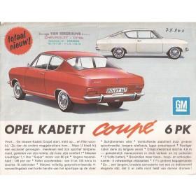 Opel Kadett Coupe brochure 2 pagina's Benzine Fabrikant ca 1965 met gebruikssporen met vouw Nederlands