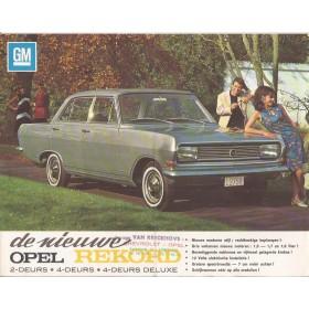 Opel Rekord brochure 2 pagina's Benzine Fabrikant ca 1965 met gebruikssporen met vouw Nederlands