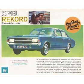 Opel Rekord brochure 4 pagina's Benzine Fabrikant ca 1966 met gebruikssporen met vouw Nederlands
