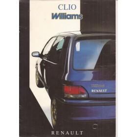 Renault Clio Williams brochure 8 pagina's Benzine Fabrikant 95 met gebruikssporen Nederlands